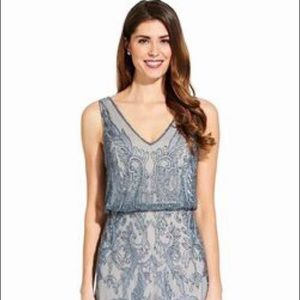 Adrianna Papell Filigree Beaded Blouson Dress